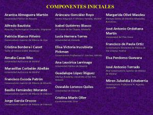 Componentes iniciales